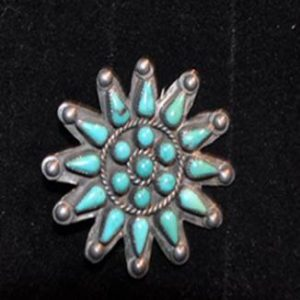 DR 169 Small Zuni Petit Point Star Pin