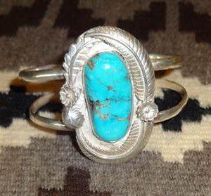 DR 1143 Large Turquoise Cabochon Cuff Bracelet