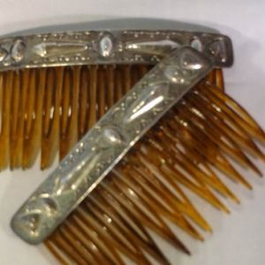DR 1190 Stamped Repousse Sterling Silver Hair Combs