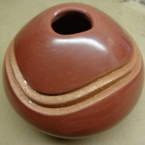 DR 2070 Polished Red Seed Jar with Micaceous Swirl Accent