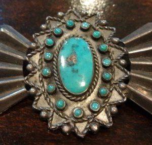 DR 1212 Vintage Blue Gem Turquoise Pin