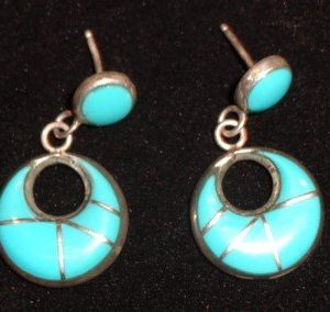 DR 1221 Turquoise Inlaid Earrings