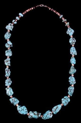 DR 1237 Chinese Chunk Turquoise Necklace
