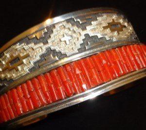 DR 1231 Basket Weave and Mediterranean Coral Cuff