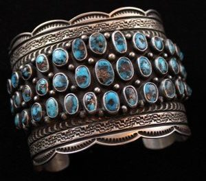 DR 1230 Natural Persian Turquoise Cluster Cuff