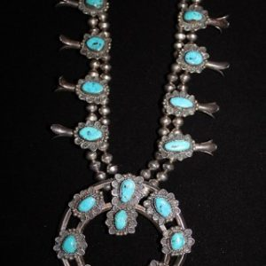 DR 1125 Turquoise and Sterling Silver Squash Blossom