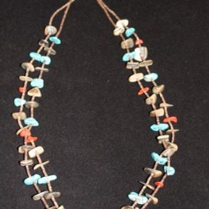 DR 119 Two Strand Turquoise Apple Coral Necklace