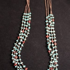 DR 123 Four Strand Turquoise and Spiny Oyster necklace