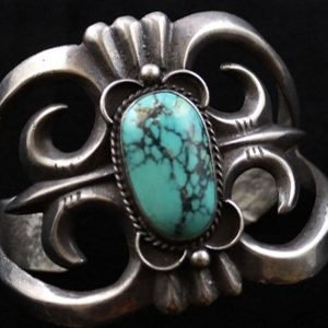 DR 1145 Sand Cast and Turquoise Cuff Bracelet