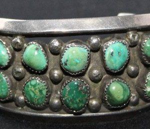 DR 111 Vintage Double Row Turquoise Cabochon Bracelet
