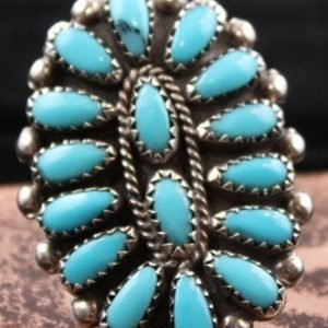 DR 1162 Tear Drop Turquoise Cluster Ring