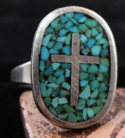 DR 1202 Inlay Cross Ring