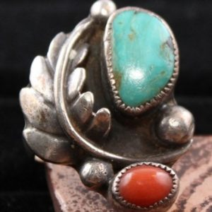 DR 173 Turquoise and Coral Leaf Design Ring