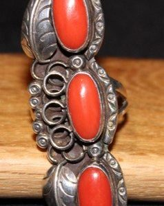 DR 1258  Triple Coral and Leaf Ring