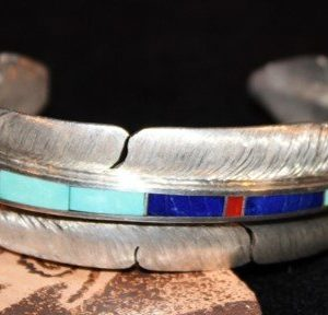 DR 1305  Eagle Feather Cuff with Inlay
