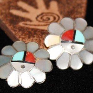 DR 1346 Zuni Sun Face Earrings