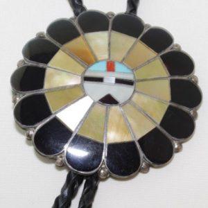 DR 1345 Vintage Zuni Sun Face Bolo Tie