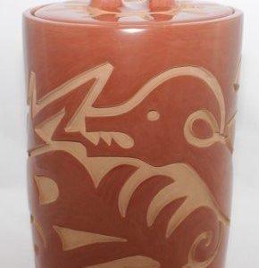 DR 2153 Large Carved Lidded Cylinder