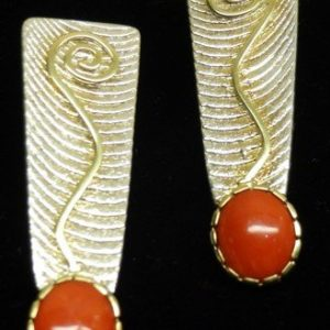 DR 1366  Coral and Gold Earrings