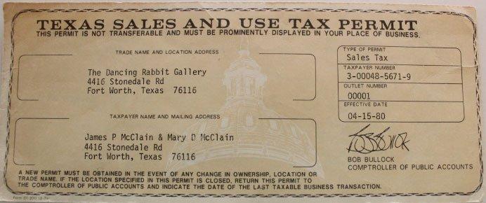 Original Sales Tax Permit